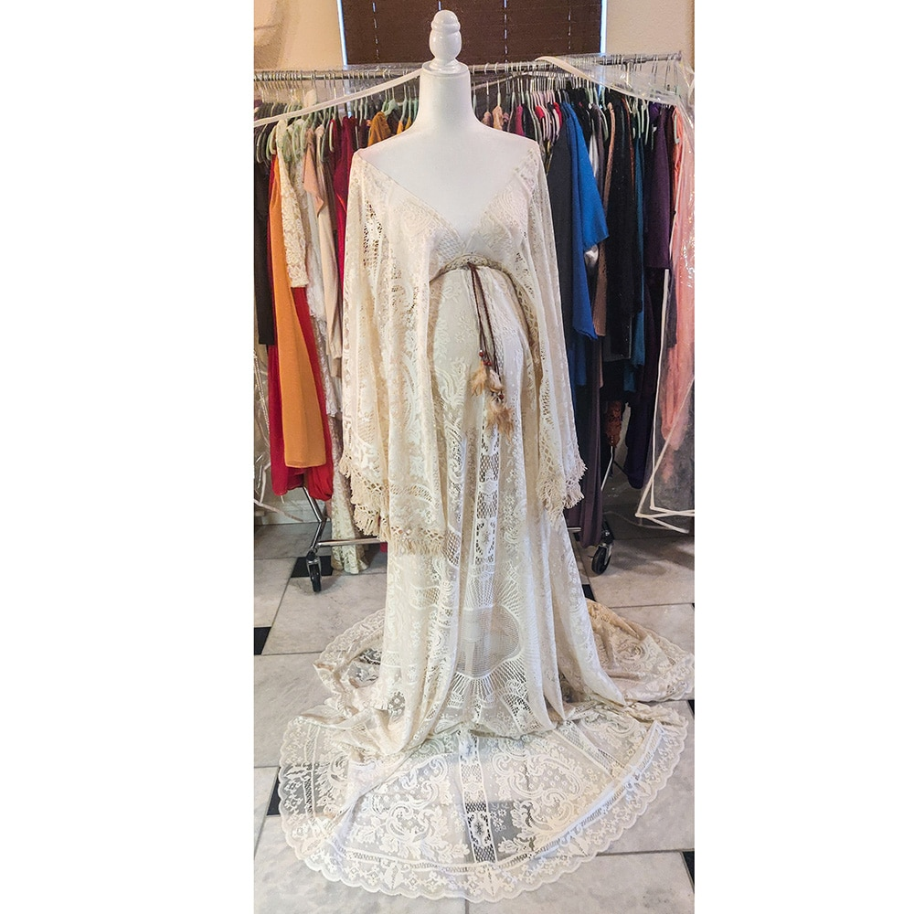 Don&Judy V-neck Lace Kaftan Maternity Dress Boho Bell Sleeves Maternity Long Gown Party Pregnancy Dresses Photo Shoot 2021 enlarge