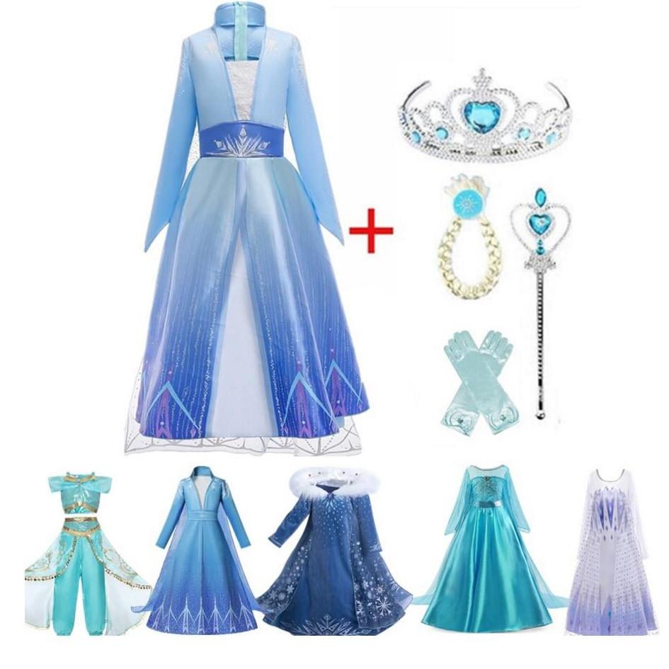 4-10T Fancy Princess Dress Baby Girl Clothes Kids Halloween Party Cosplay Costume Children Elsa Anna Dress vestidos infantil
