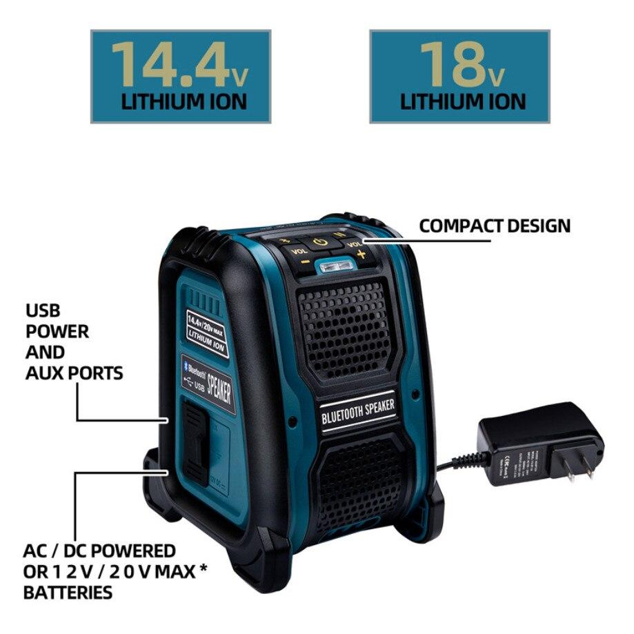 14.4 فولت 18 فولت بطارية ليثيوم أيون سمّاعات بلوتوث ل ديوالت ل ماكيتا ل بوش ل ميلووكي مشغل MP3 مكبر الصوت مكبر للصوت 15 واط