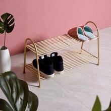 Solide et durable étagère à chaussures nordique conception creuse pas facile de se salir simple fer pantoufles étagère de rangement santé et environnement