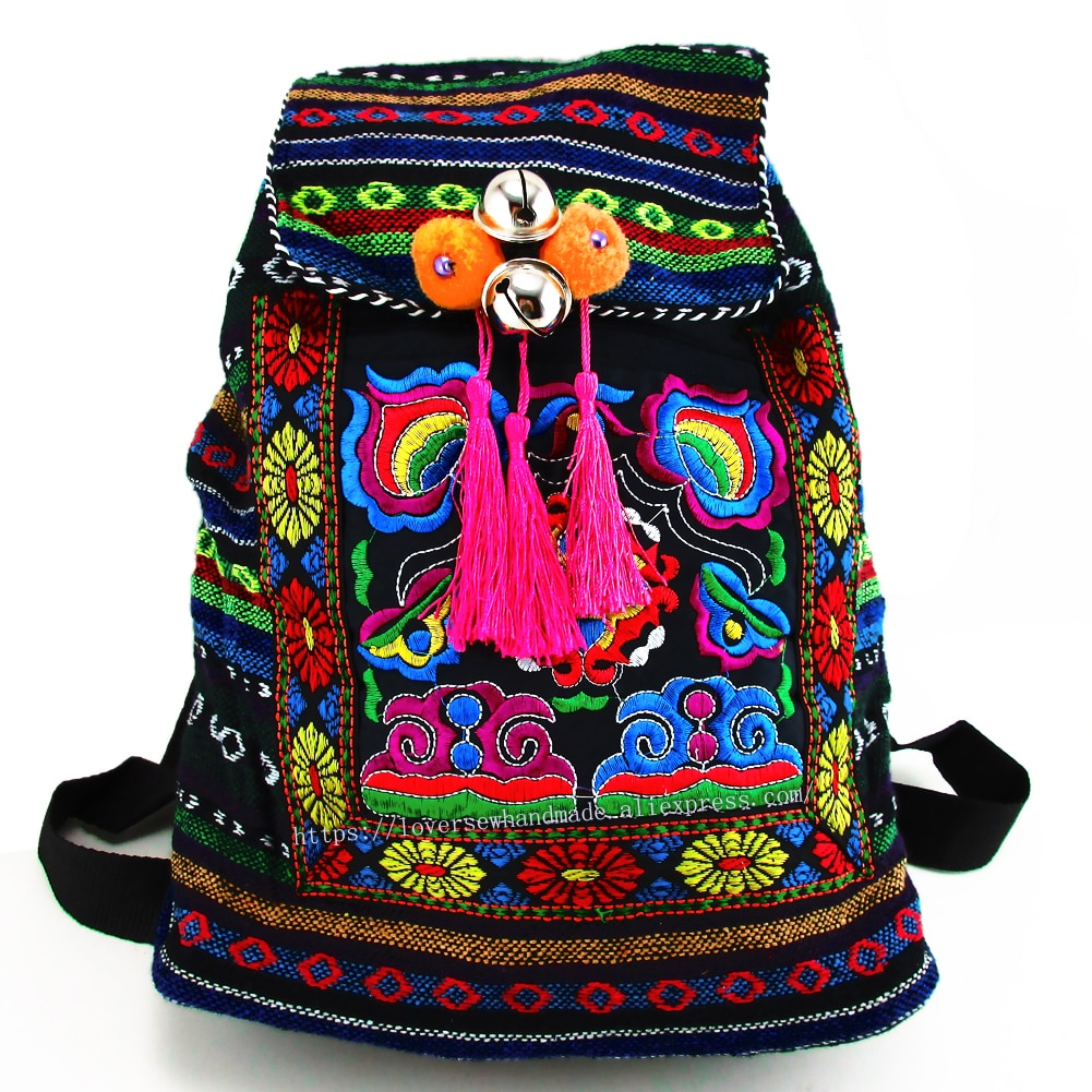Tribal Vintage Hmong Thai Indian Ethnic Embroidery Bohemian rucksack Boho hippie ethnic bag backpack L size SYS-170E
