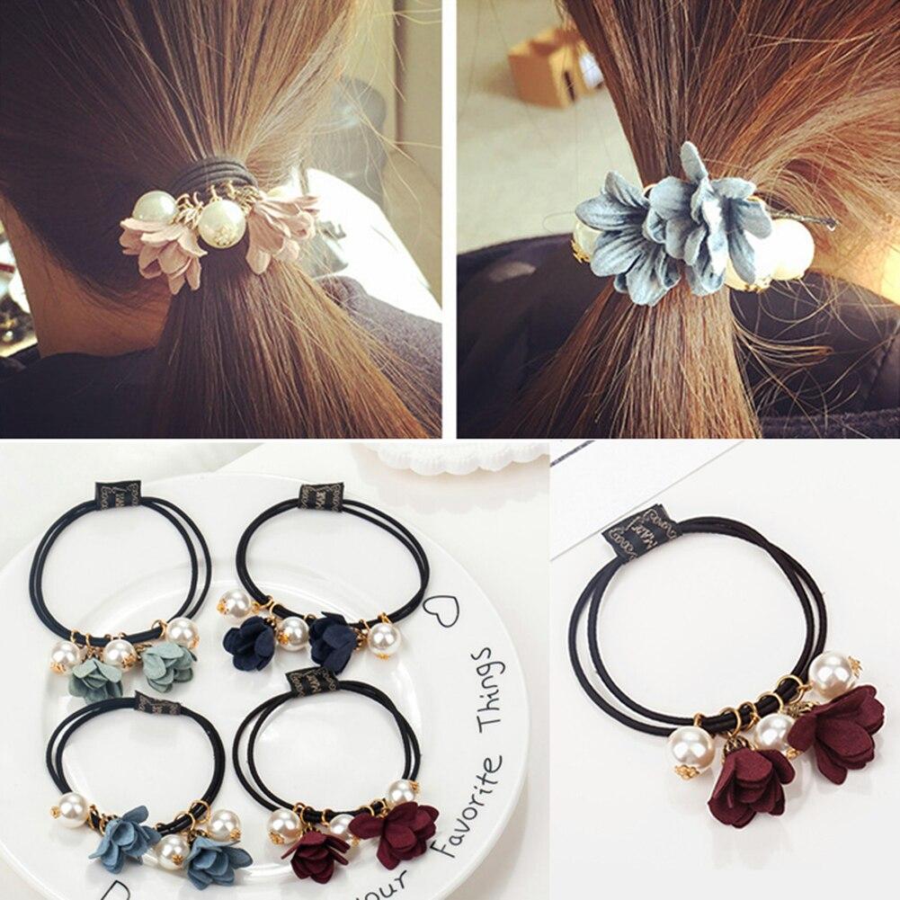 1PC Big Pearl Flower Scrunchies Elastic Hair Bands for Women Girls Korean Sweet Hair Rope Ties Ponytail Holders Hair Accessories