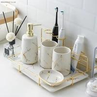 Kit de salle de bain en ceramique  gobelet de bain de bouche  bouteille de Lotion  brosse a dents  accessoires de salle de bain creatifs  decoration de salle de bain
