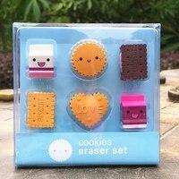 2021 new kawaii creative imitation biscuit shape eraser student kindergarten children birthday gift prize rubber stationery set