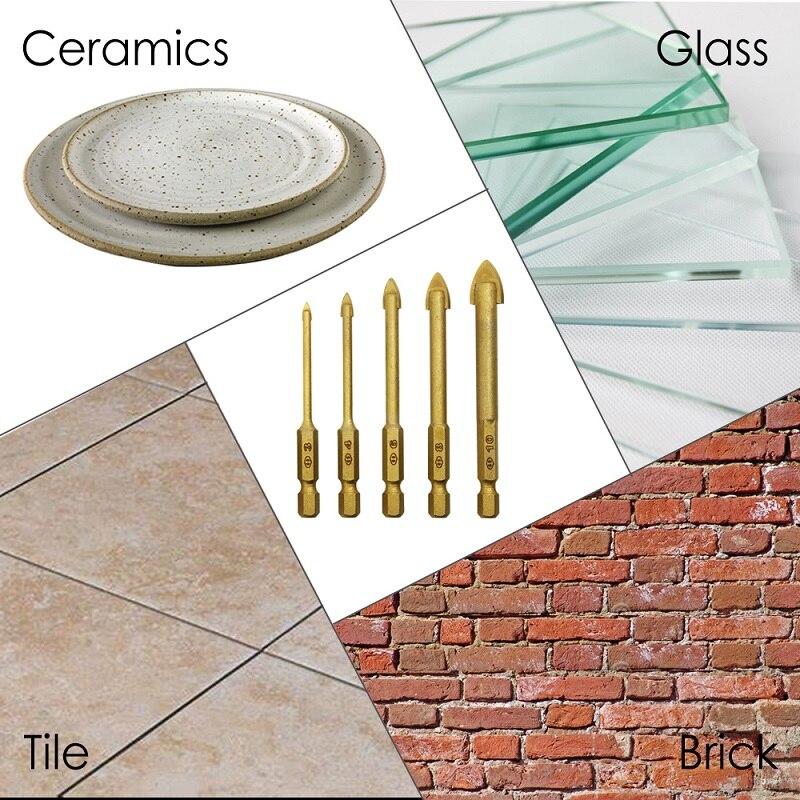 Envío gratis 5 unidades de titanio recubierto de vidrio Bits Set 3 / 4 / 6 / 8 / 10 mm con mango hexagonal para cerámica del azulejo de mármol espejo y vidrio
