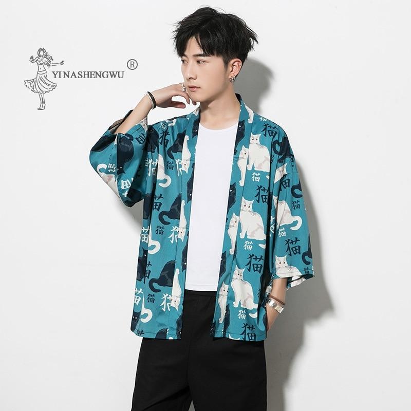 Janpanese Cat Print Coat Yukata Kimono Cardigan Men Femal Harajuku Japan Haori Summer Asia Cosplay Costumes Traditional Shirts