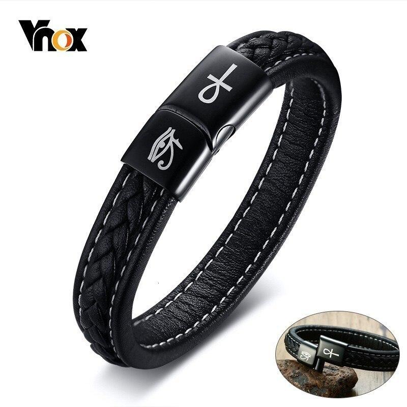 Vnox Gravierte Ankh Kreuz Auge von Horus Armbänder für Männer Schwarz Echtes Leder pulsera masculina 19/21/23cm