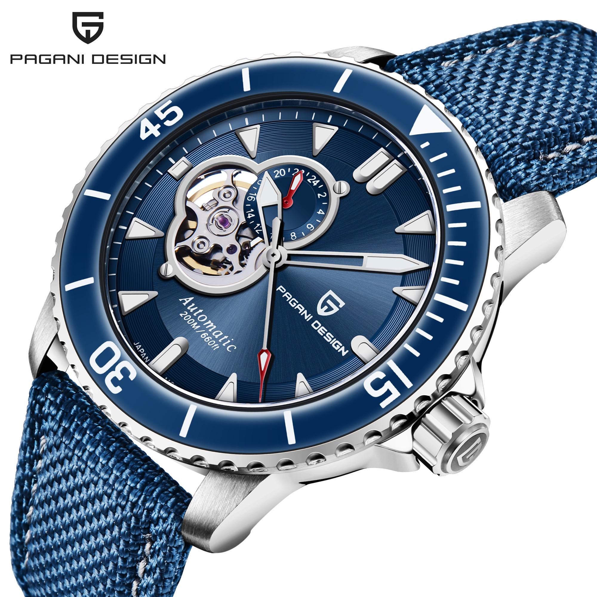 2021 PAGANI DESIGN New 200m Waterproof Automatic Mechanical Clock Leather Men's Sports Sapphire Watch Reloj Hombre