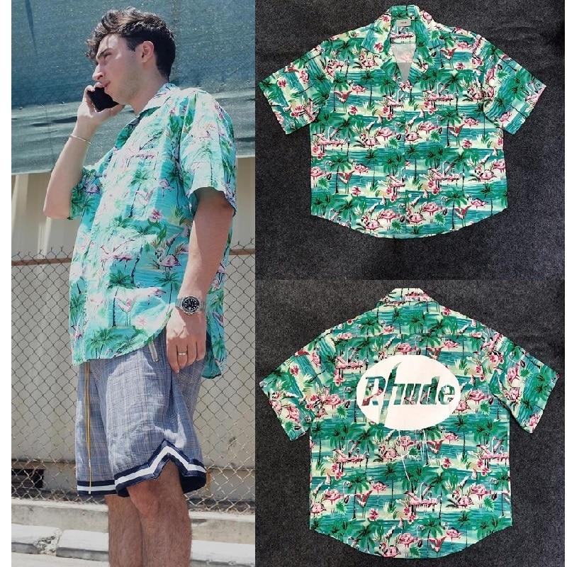 Rhude X Patron Shirt Men Flamingos Mint Green New York Limited Edition Flamingo Skateboard Short Sleeve Green Bird RHUDE Shirt недорого