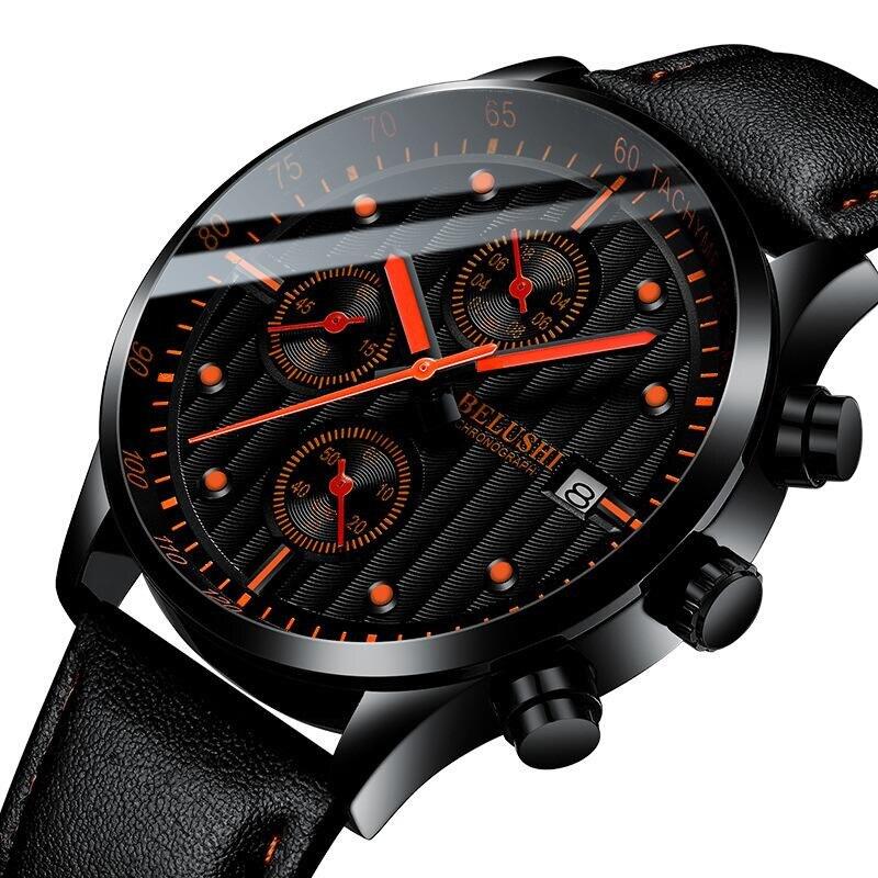 Net vermelho relógio de quartzo masculino moda hit tendência relógio masculino três-olho seis pinos à prova dlight água luz da noite