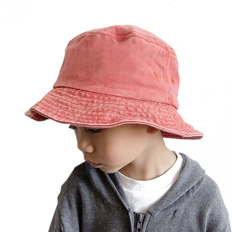 Washed Denim Bucket Hat Kids Wide Brim Cotton Fisherman Hat Girls Boys Summer Panama Sun Hat Outdoor Beach Fishing Cap