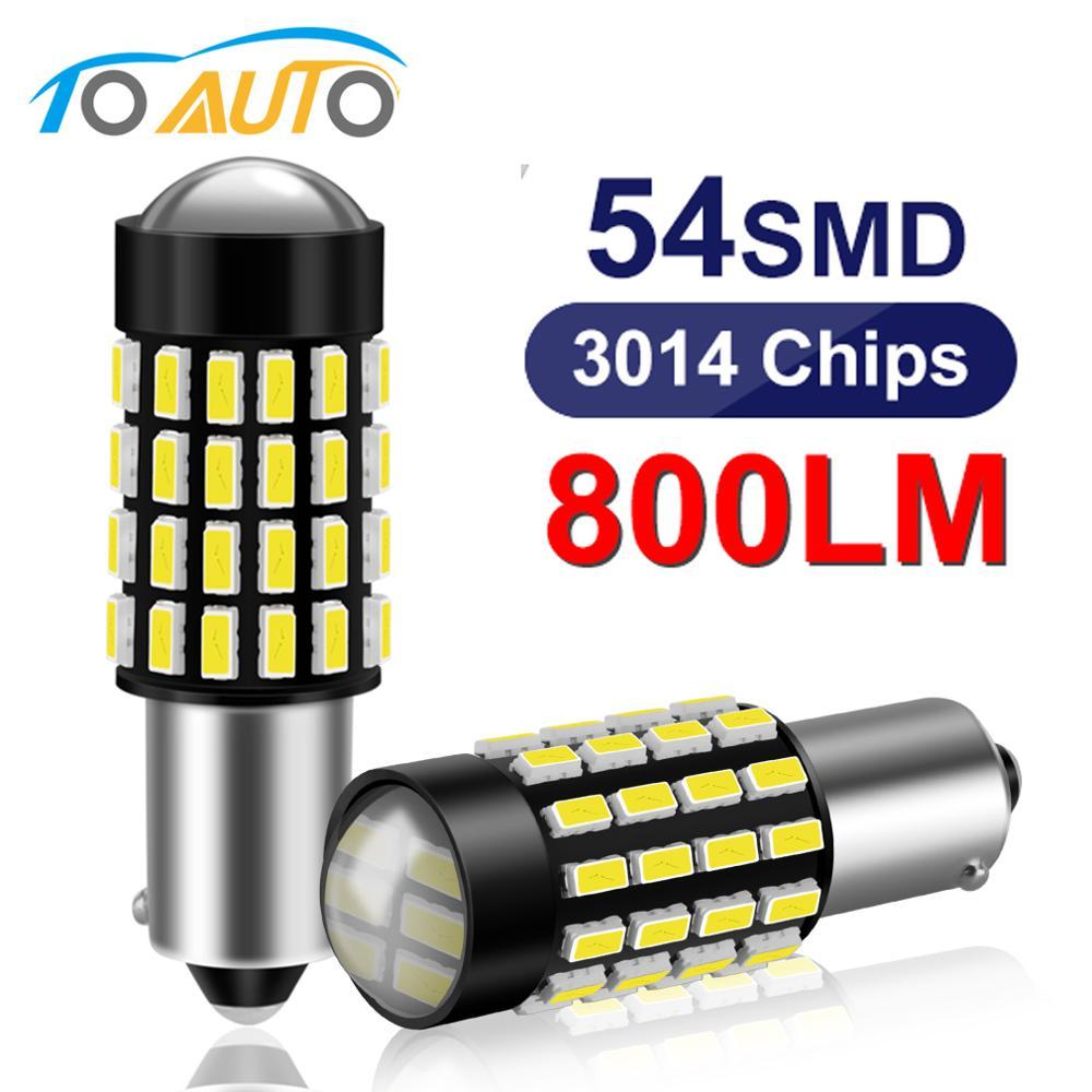 2 pces ba9s t4w t11 lâmpada led de alta qualidade 54smd 3014 chips auto interior leitura cúpula lâmpadas sinal lâmpada 12 v branco lado cunha luz
