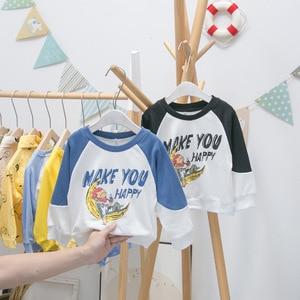 2020 Autumn Toddler Boys Sweatshirts Korean Fashion Loose Letter Cartoon Print Pullover for Boy Baby Kids Casual Tops Hoodies
