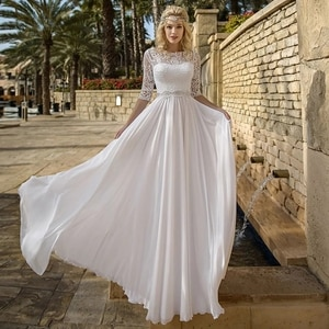 New On Sale Beach Boho Lace Bridal Wedding Dresses with 3/4 Sleeves Jewel Neck Back Out Wedding Gowns for Bride White 2021