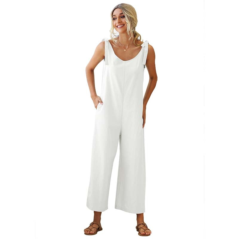 summer new women jumpsuit fashion lace sleeveless casual v neck pocket women rompers black jumpsuits female pants bodysuits Women Jumpsuits Rompers Summer Casual Solid V-neck Sexy Suspender Sleeveless Jumpsuit Pocket Overalls Wide Leg Loose Jumpsuit