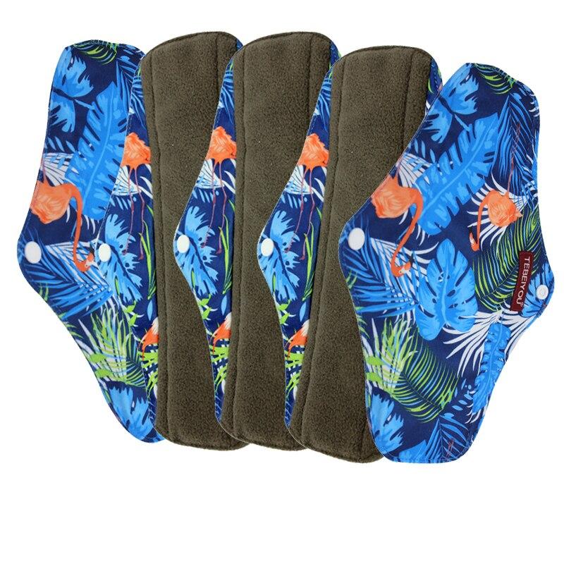 Novo design almofadas de pano mama reutilizável almofada saintary lavável pano almofada menstrual 5 peças