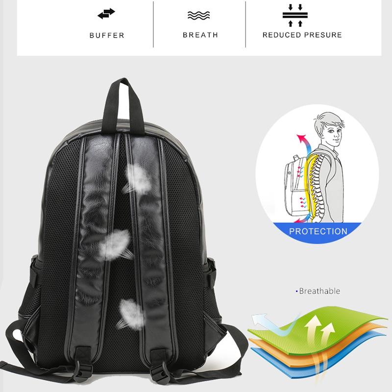Lelaki beg galas kulit sekolah beg fesyen kalis air beg kasual beg - Beg galas - Foto 3