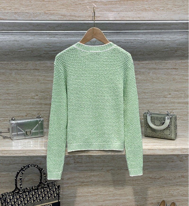 2021 Spring And Autumn New Style Green Short Knitted Cardigan Women Sweater Coat Striped Round Neck enlarge