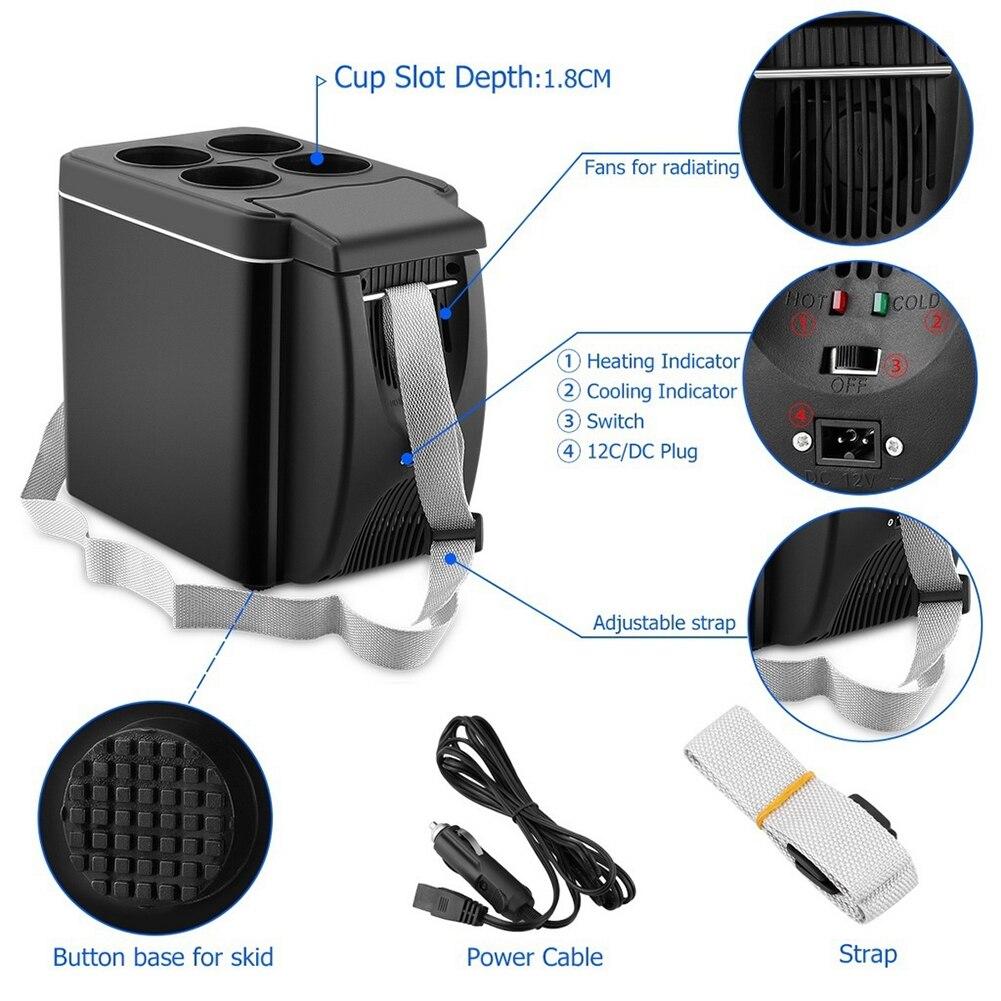12V Car Refrigerator Freezer Heater 6L Mini Car Freezer Cooler Warmer Electric Fridge Portable Icebox Travel Refrigerator