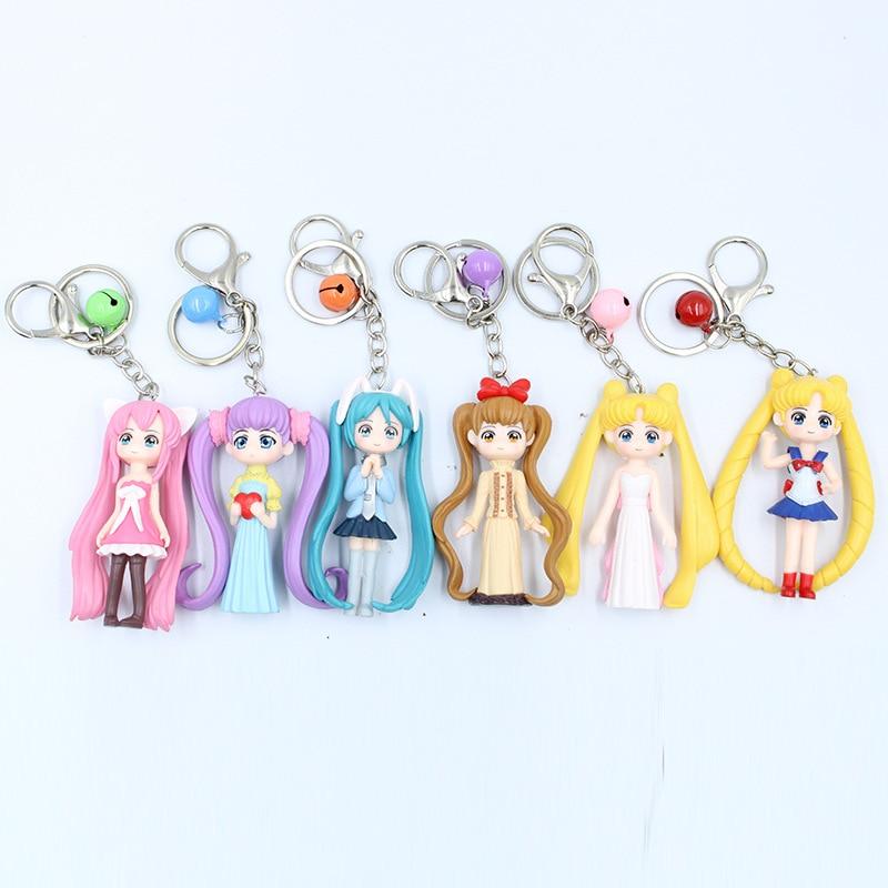 6 Pieces / Set of Cute Sailor Moon Car Key Ring Bell Pendant Moon Hare Hatsune Cartoon Doll Pendant Key Chain Jewelry