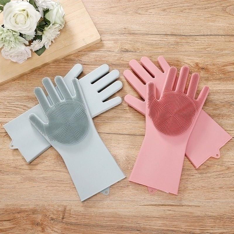 Magic Silicone Gloves Food Grade Cleaning Sponge Dishwashing Brushe Multipurpose Dish Scrubber Glove Pet Grooming