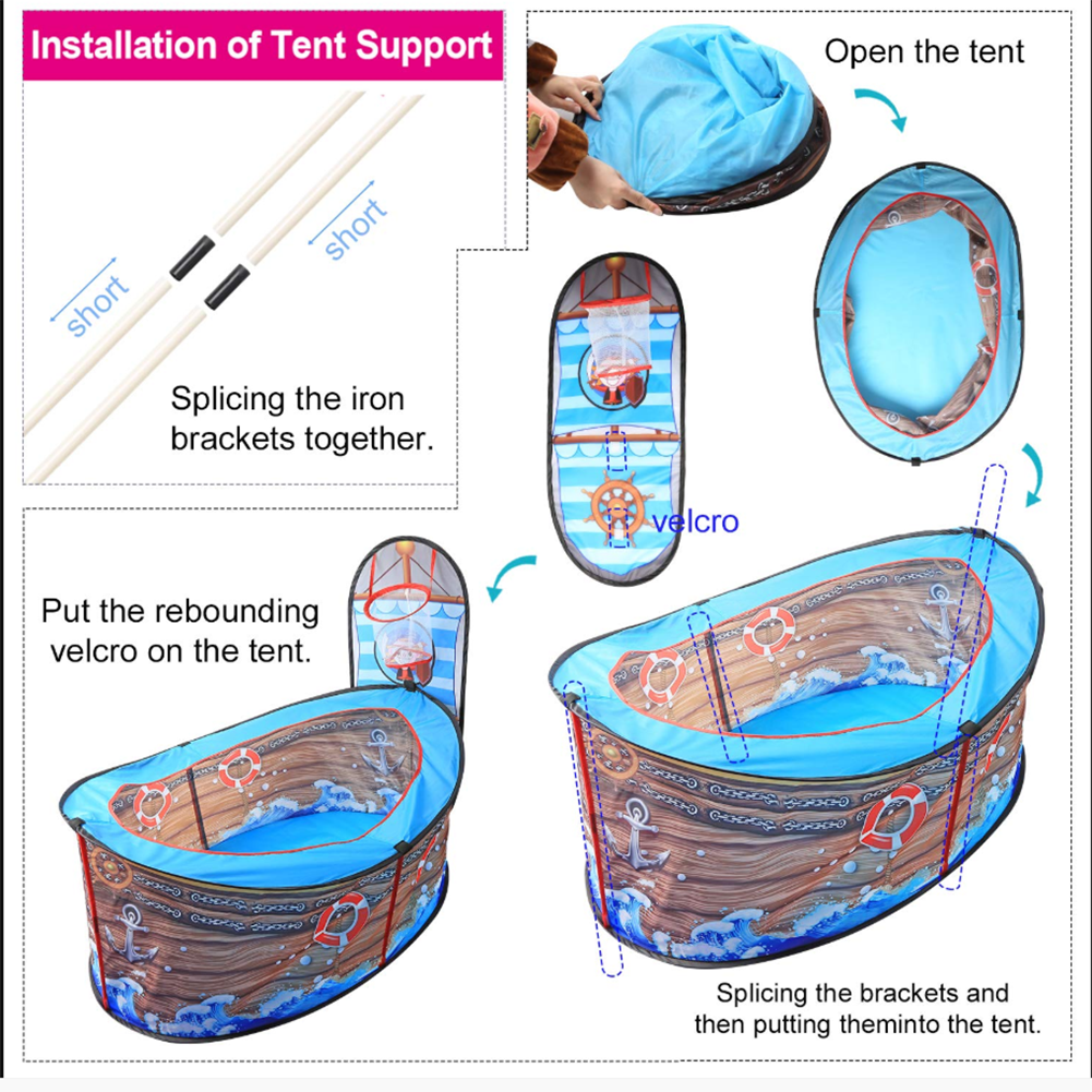 Play Game Tent For Kids Pirate Ship Marine Ball Pool Indoor Toy House Game Fence Children Ball Pool With Ball Hoop Fence Game  - buy with discount