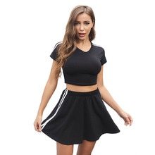 Women's Summer Cheerleading Costume Outdoor Solid Workout Fitness Tennis Running Short Sleeve High W