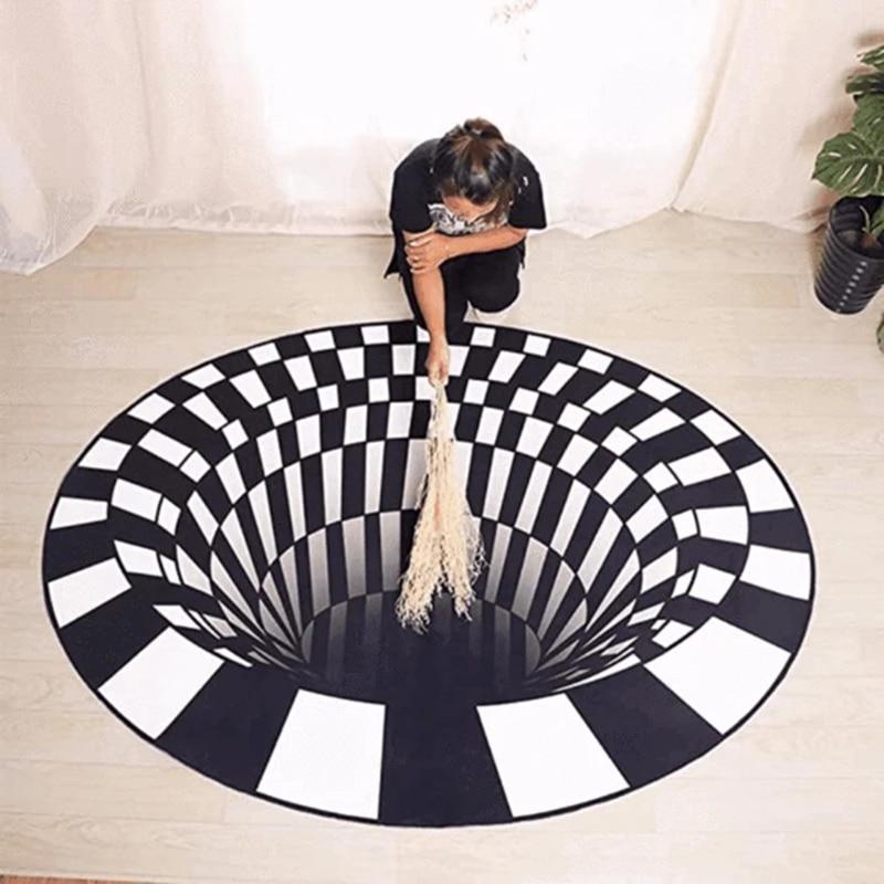 Alfombras 3D Vortex de ilusión redonda, alfombras a cuadros blancas y negras de primera calidad, felpudo antideslizante para sala de estar, alfombrilla para el suelo, mesa de café, manta para sofá