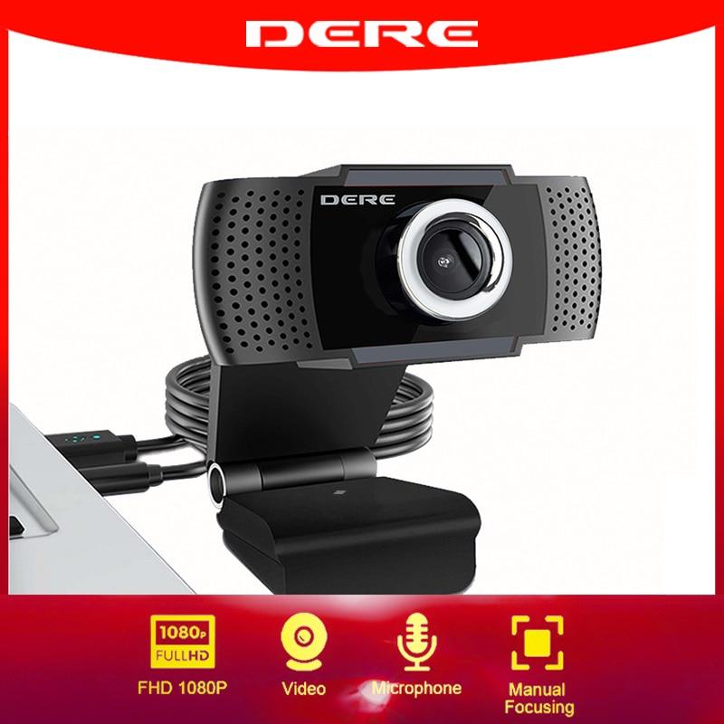 DERE X22 FHD 1080P Webcam Mini Camera Video Conference Mini USB Web Cam Microphone Focus for Rotatab