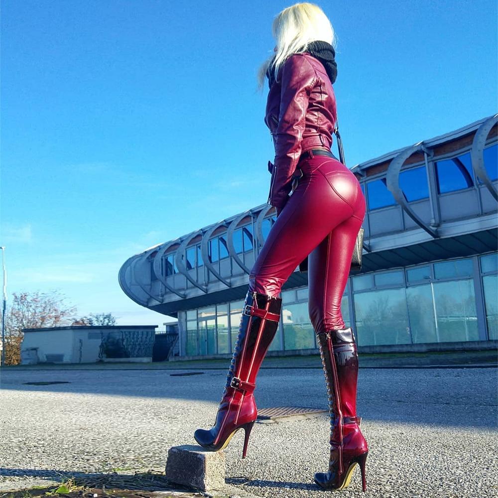 Женские Компрессионные Леггинсы Melody Dressy для бега, красные плиссированные джинсы, сексуальные брюки из искусственной кожи, трико для тренир...