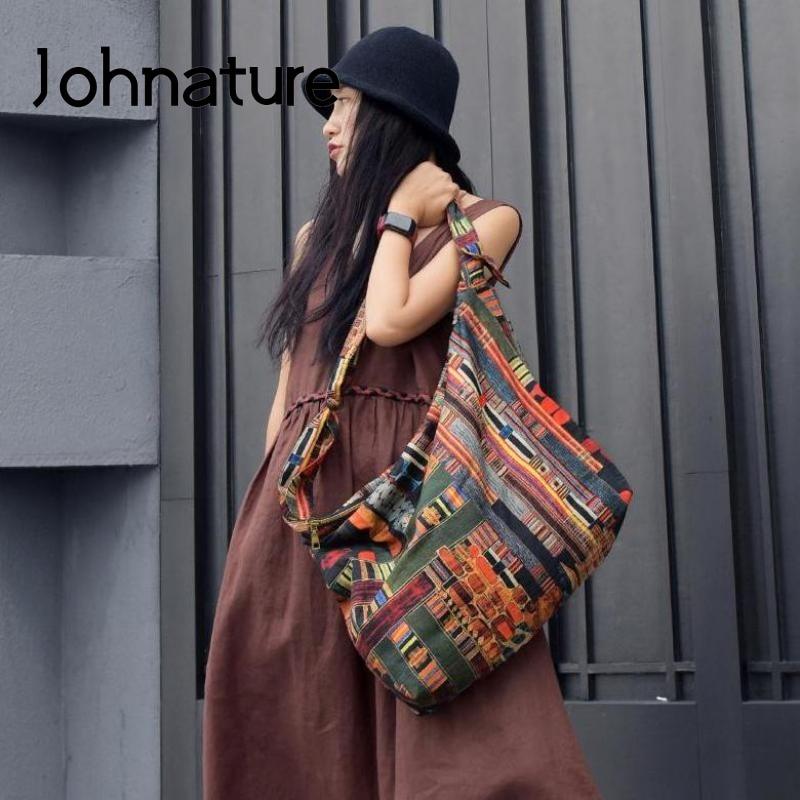 Johطبيعة-حقيبة كتف نسائية مطبوعة يدويًا ، حقيبة كتف ، عتيقة ، سعة كبيرة ، حقيبة ترفيه ، كل شيء ، مجموعة جديدة 2021