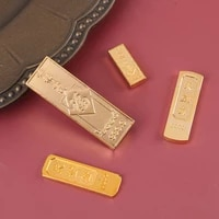 1 pieces 2021 metal feng shui mascot chinese yellow crystal gold ingot for wealth lucky home decor