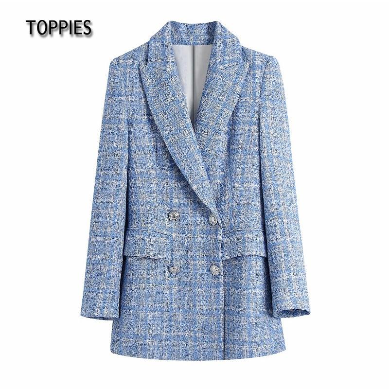Toppies Vintage Tweed Jacket Coat Woman Long Blazer Double Breasted Plaid Suit Jacket Female outwear