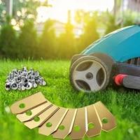 outdoor gardening lawn mower blade set golden titanium plated garden machinery lawn mower blade set with screws
