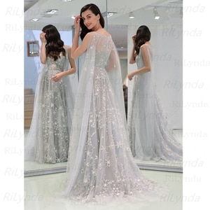Grey Evening Dresses 2020 Sexy Prom Dresses with Slit Rhinestone Tulle See Through Long Evening Gowns