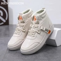 men casual shoes mens shoes casual high top shoes leather panel shoes trend wild tide shoes men fashion sneakers
