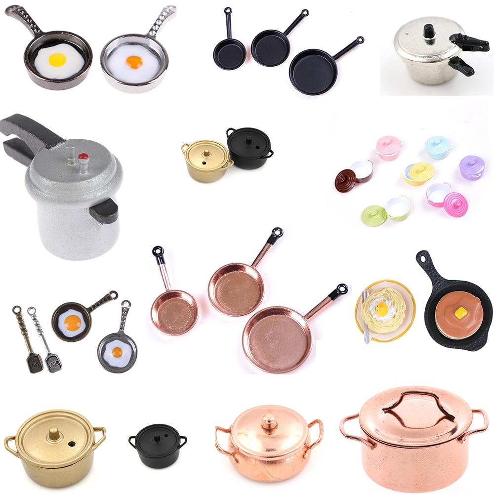 Múltiples estilos de olla para cocción de arroz frito pastel de café de olla Caldera, olla de cobre con tapa muñeca simulación 1/12 casa de muñecas juguetes de cocina