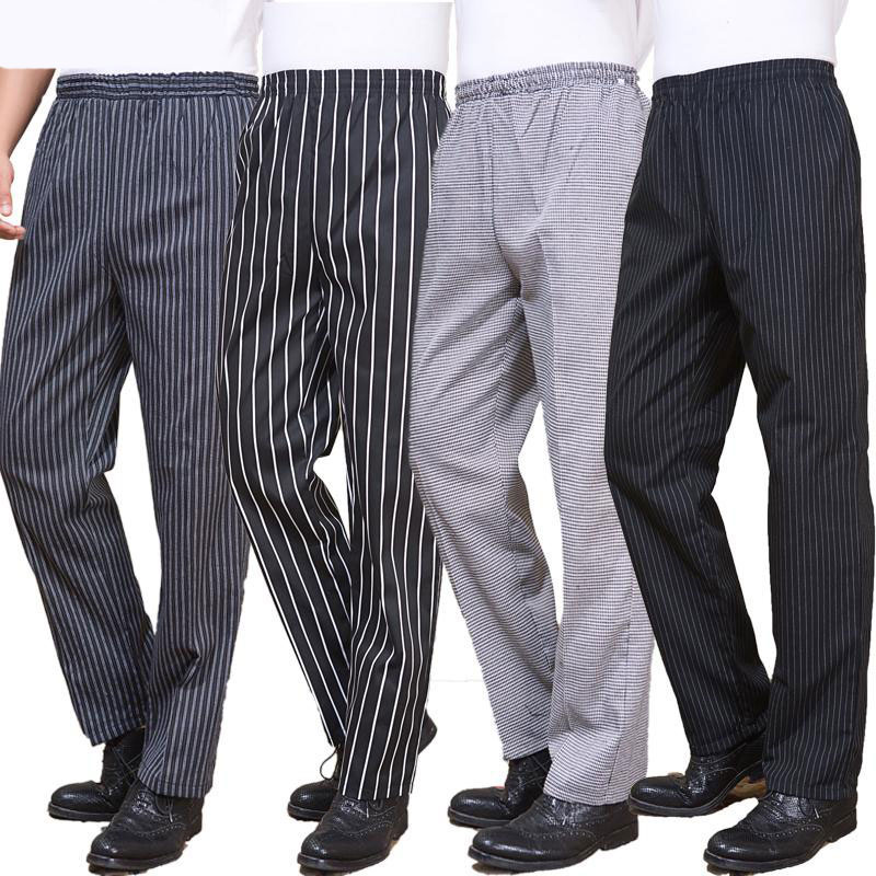 VIAOLI hotel Chef uniforms kitchen work clothes restaurant elastic trousers zebra pant kitchen cooker pants work clothes men bauskydd mens polycotton durable work trousers with eva knee pads black work pant workwear carperner pant men free shipping