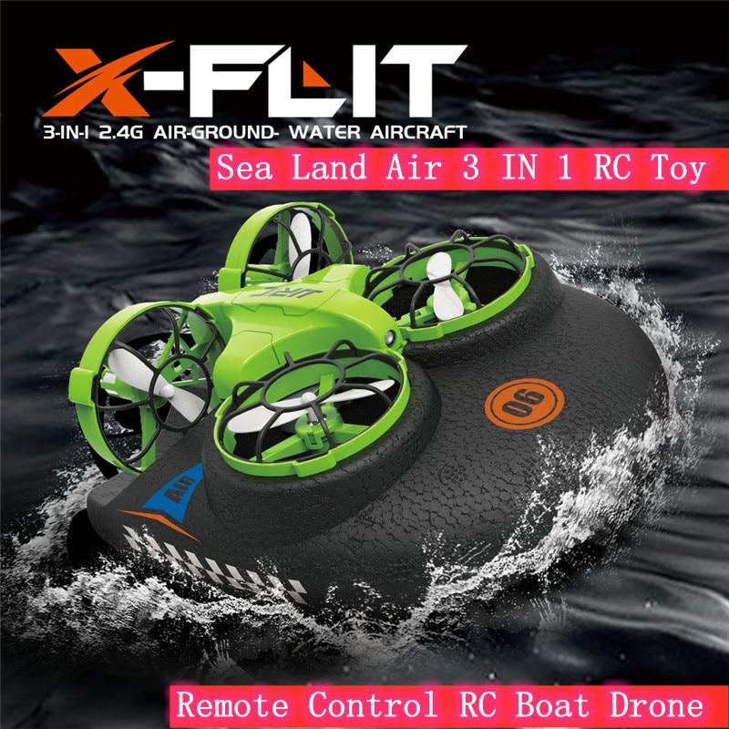 2,4G 6-Axis 4 canales Mini RC Quadcopter Drone velocidad de Control infrarrojo tierra aire RC Drones Vehículo de juguete mar tierra aire 3 en 1