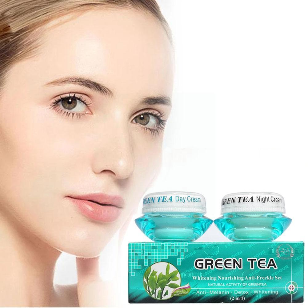 20g+20g Green Tea Whitening Nourishing Anti-freckle Cream Skin Day Product Set Activity Natural Gree