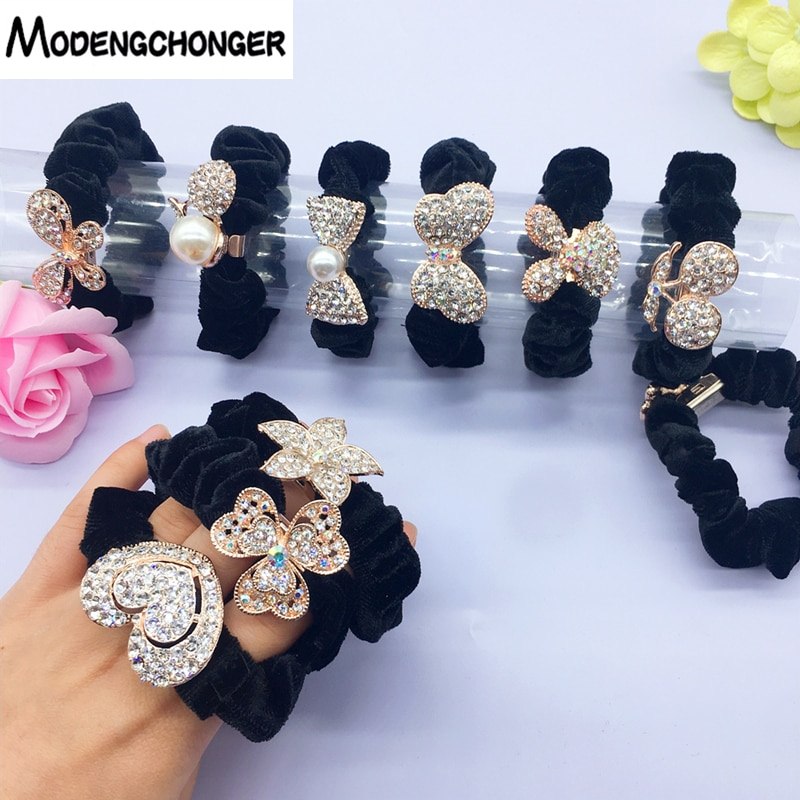De goma para mujeres de alta elástico bandas de goma para el cabello chicle lazo de aleación anillo pelo Pelo cuerda coleta titular accesorios para el cabello