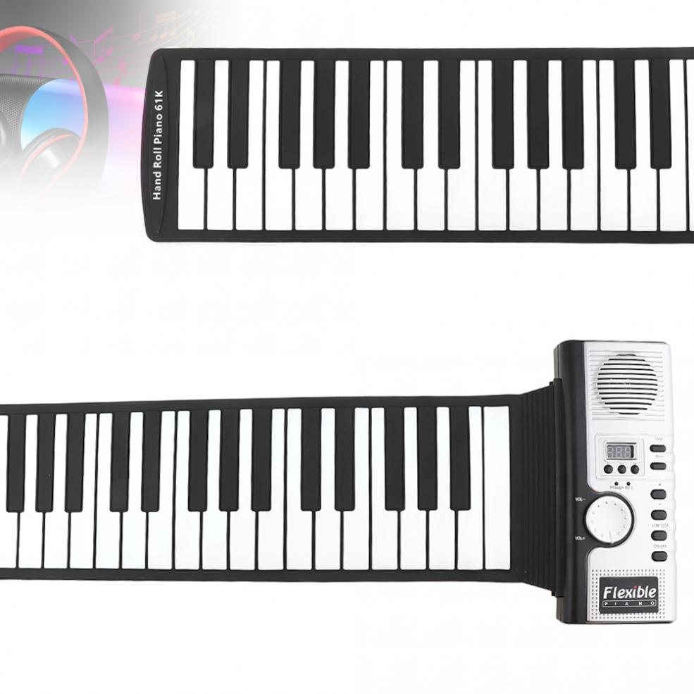 61 Keys Electronic Portable Silicone Flexible Hand Roll Up Piano Built-in Speaker MIDI Out Keyboard Organ Instruments enlarge