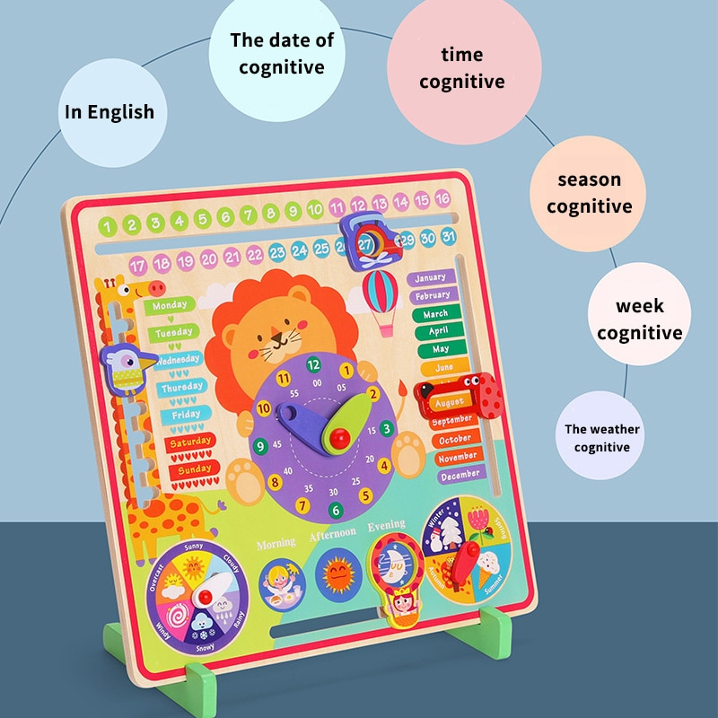 Kids Montessori Weather Season Time Cognitive Puzzles Wooden Clock Board Game Child Early Learning Educational Figures Toys Gift