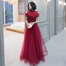 Evening Dresses High Neck Short Sleeves A-line Floor-length Elegant Appliques Plus size Customized W
