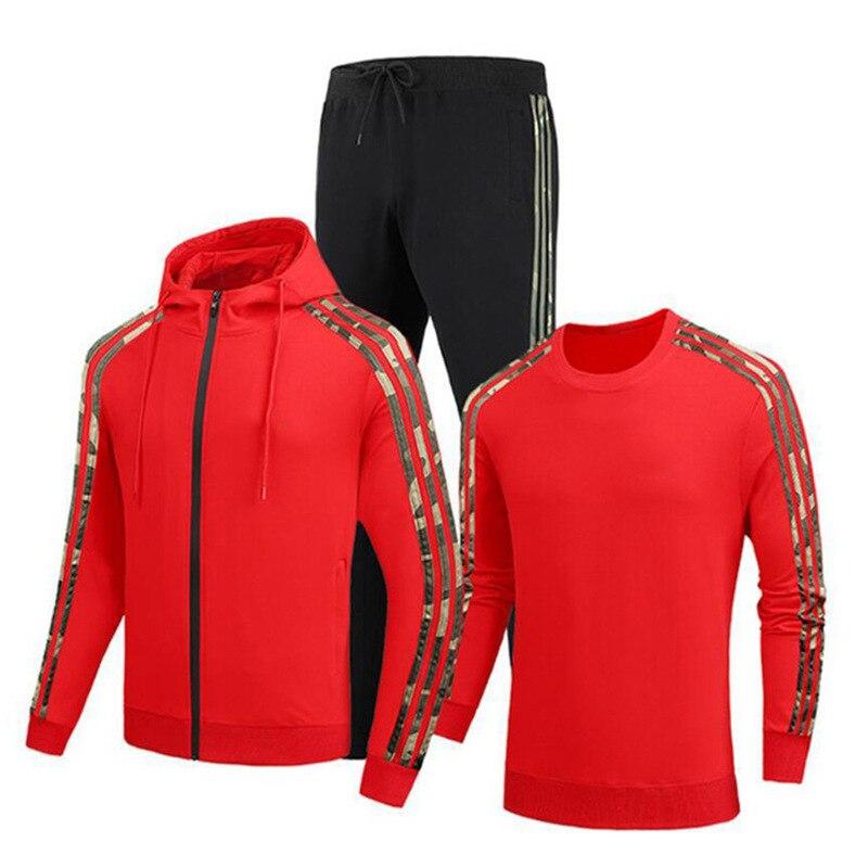 Фото - 2021 Hooded Sweater + Sweatpants Suit Men And Women Hip-Hop Three-Bar Running Sportswear Fashion Three-Piece Suit Sudaderas three women