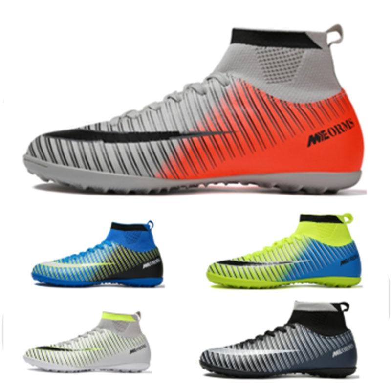 Botas de futebol masculino botas de futebol botas longas spikes tf spikes tornozelo alta superior tênis macio interior turf futsal futebol sapatos