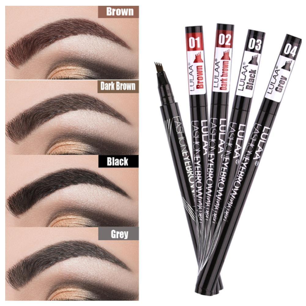 Alta calidad 4 cabeza de larga duración maquillaje de ojos líquido potenciador ceja tatuaje pluma bosquejo lápiz de cejas impermeable