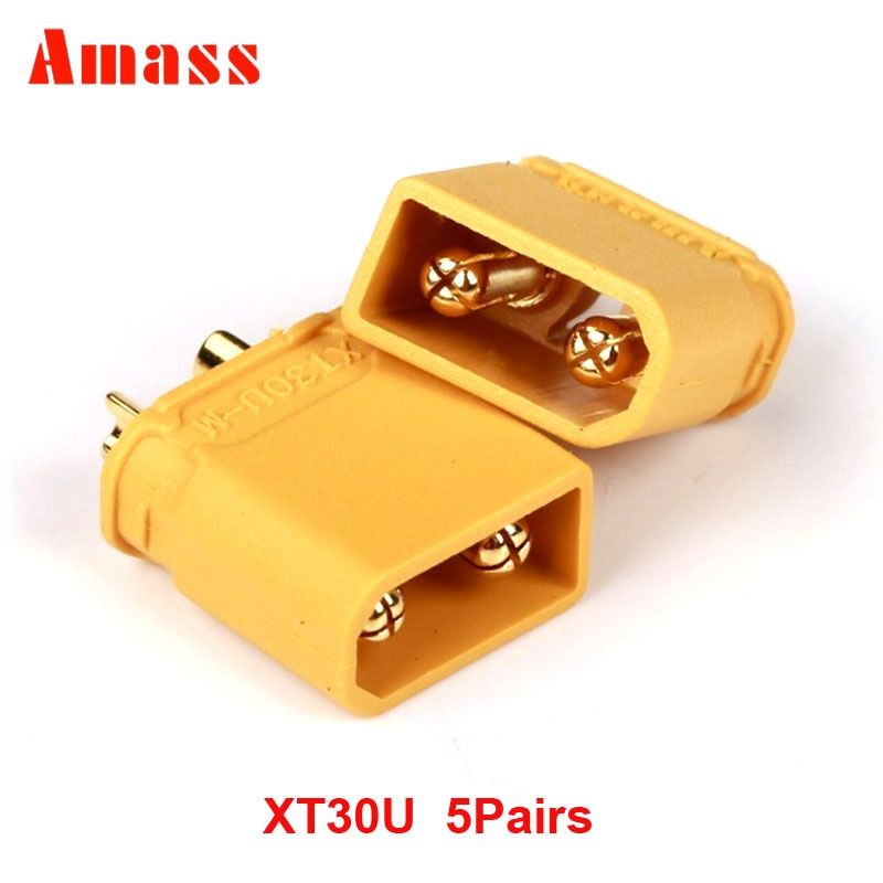 5 Pairs/10 Pairs Amass XT30U Connector Male and Female 2mm Golden Plated Banana Plug for RC ESC Battery 10 pairs t plug male