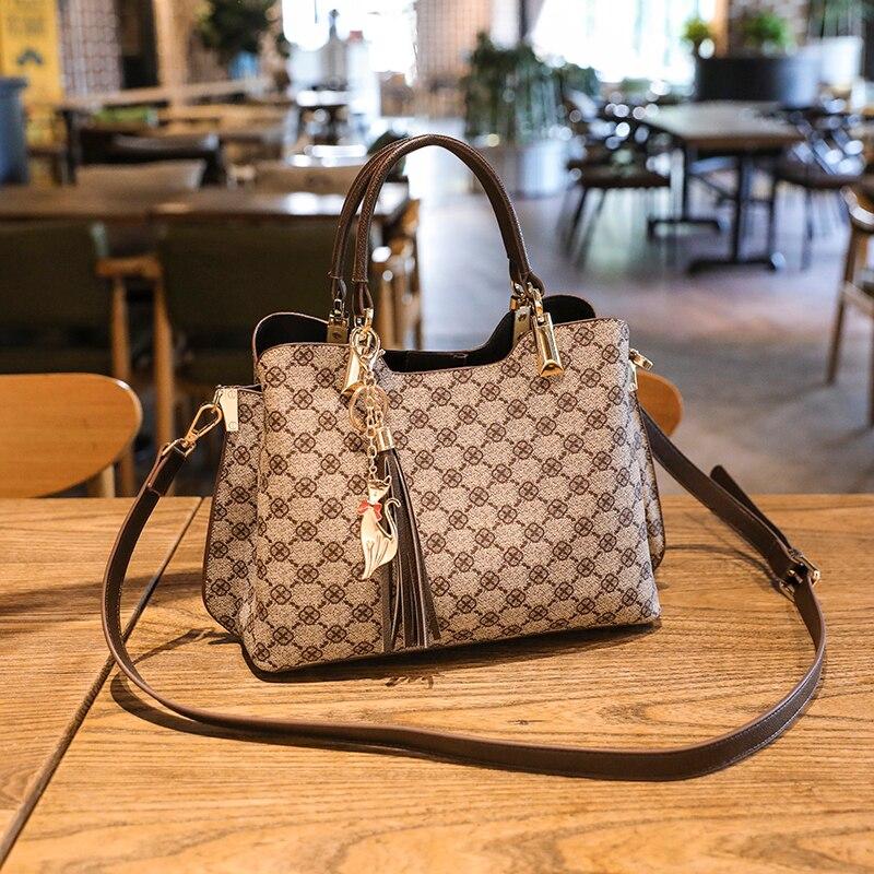 Shoulder Bag For Women 2020 2021 New Luxury Designer Crossbody Leather Vintage Fashion Ladies Shopper Mahjong Plaid Big Handbags