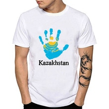 Nationale Vlag Kazachstan T-shirt Gouden Zon Adelaar Afdrukken Man Korte Mouw Tees Tops Kazachse Vingerafdruk Kleding Tshirt YH042